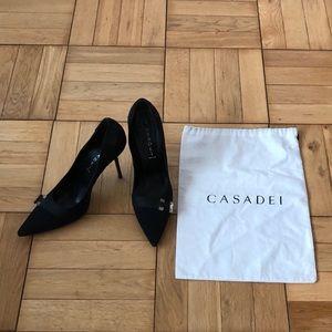 CASADEI satin black heels